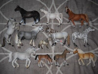 SCHLEICH ~ LOT OF 12 HORSES, PONIES AND FOALS   nice variety!!!