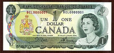 $1 1973 Bank of Canada BCL 0000001 PMG 65 EPQ Gem Uncirculated  Serial #1