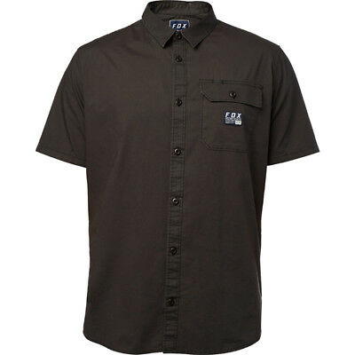 Fox Racing NEW Mx Brig Woven Black Vintage Mens Button Up Short Sleeve Shirt