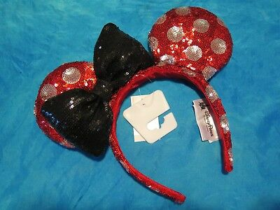Disney Parks Minnie Mouse Polka Dot Red Sequin Ear Headband Authentic Ears