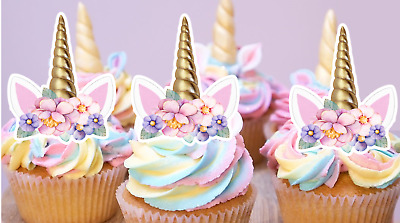 unicorns ears EDIBLE cupcake cake toppers fairy birthday x12 PRE-CUT 1st 4th 5th