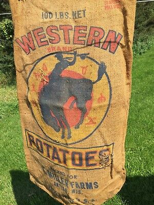 #6 Vintage Rustic 100 lb. Burlap Sack Bag Western Potatoes Antigo WI empty