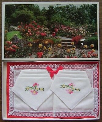 HANDKERCHIEFS BOXED Set of 3 - VGC Original OLD - COTTON EMBROIDERED