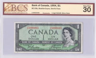 1954 BANK OF CANADA $1 DEVIL FACE BC-29b BEATTIE COYNE I/A5600065 GRADED VF30
