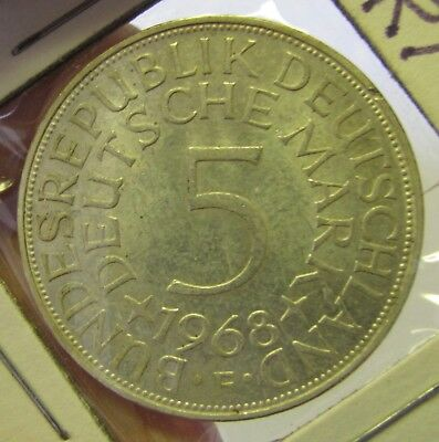 1968 F  Germany 5 Mark Silver Coin - Very Fine