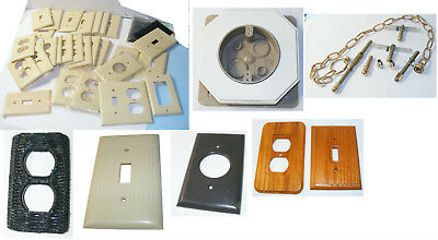 30 + - vintage electrical OUTLET and SWITCH covers VARIETY lot BRASS hanging hdw