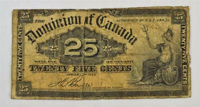 1900 DOMINION OF CANADA 25 CENT SHINPLASTER. 25c BOVILLE. FREE COMBINED SHIPPING