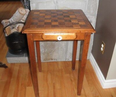Vintage Unique Coffee Chess Table Inlaid  Checkers Wooden Games Table Drawer