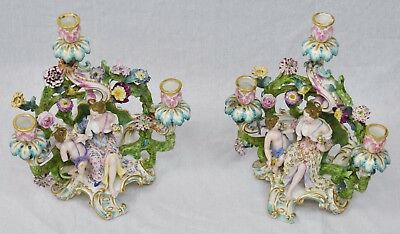 Pair of Meissen Porcelain Candelabras with Cherubs and Female 19th century 3 arm