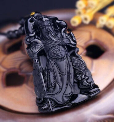 Natural Black Obsidian Chinese Hand Carved GuanGong Lucky Pendant Beads Necklace