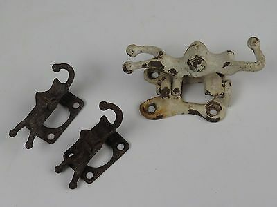 Antique Cast Iron Clothesline Hardware Industrial Chic Wall Mount OLD Paint