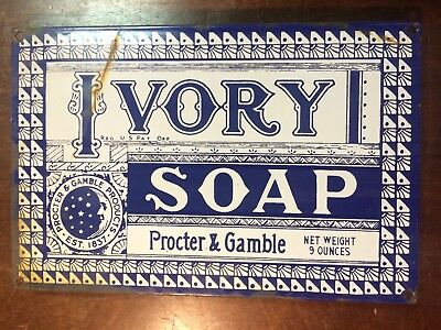 "Vintage IVORY SOAP Porcelain Enamel Sign General Store Rusted 12"" Gas Oil Auto"