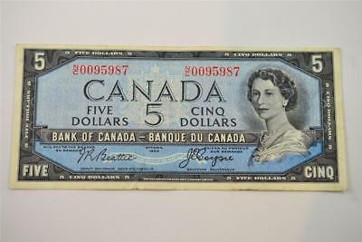 1954 Bank Of Canada $5 Five Dollar Bill. N/c0095987 . Free Combined Shipping