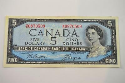 1954 Bank Of Canada $5 Five Dollar Bill. M/c0870509 . Free Combined Shipping