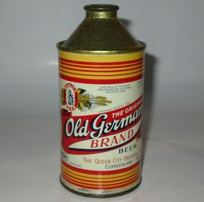 Old German cone top beer can, Queen City, Cumberland, MD, 1940s, IRTP