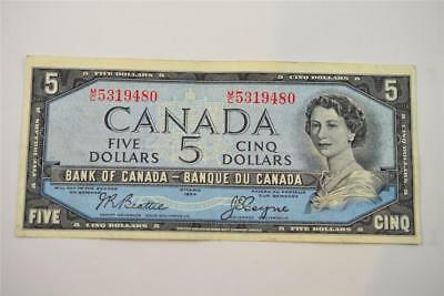 1954 Bank Of Canada $5 Five Dollar Bill. M/c5319480. Free Combined Shipping