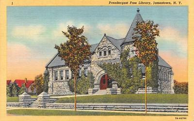 JAMESTOWN, NY New York  PRENDERGAST FREE LIBRARY Chautauqau Co  c1940's Postcard
