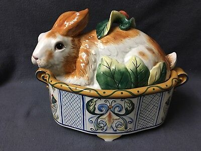 """Fitz Floyd Ricamo Rabbit Bunny 13"""" Covered Tureen Covered Vegetable Dish"""