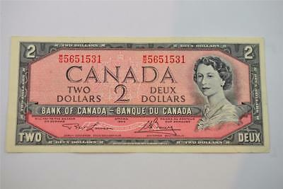 1954 Bank Of Canada $2 Two Dollar Bill. M/g5651531. Free Combined Shipping