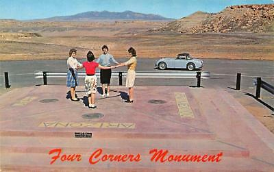 FOUR GIRLS~FOUR CORNERS MONUMENT~UT, CO, NM & AZ  c1960's MG Car CHROME Postcard