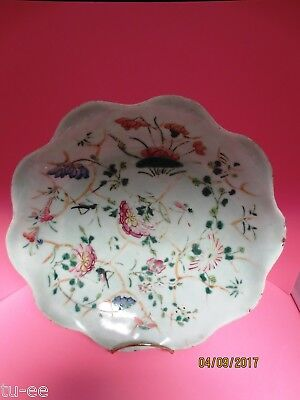 """Antique Hand Painted Chinese Green Celadon Footed Bowl 9 1/4"""" Across Rim"""
