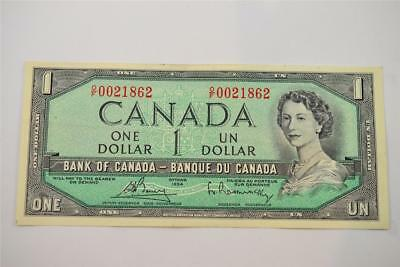 1954 Bank Of Canada $1 One Dollar Bill. O/f0021862. Free Combined Shipping