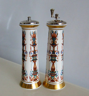 Lenox Lido Salt Shaker Pepper Mill Hand Decorated W/ 24 Kt Gold  Made In Usa