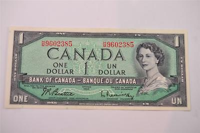 1954 Bank Of Canada $1 One Dollar Bill. H/m9602385. Free Combined Shipping