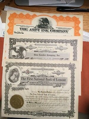 3 Different Unissued Stock Certificates