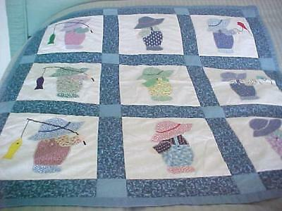 """Overall Boys Sunbonnet Sue Handmade Baby Quilt ~ 40"""" x 40"""" Coverlet ~ New Unused"""