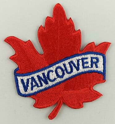 WHISTLER Red Maple Leaf Embroidered Iron on Patch Crest Badge ...Size 2.5 X 2.5 Inch .. New