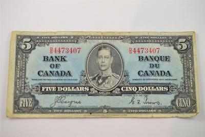 1937 Bank Of Canada $5 Five Dollar Bill. D/s4473407 . Free Combined Shipping