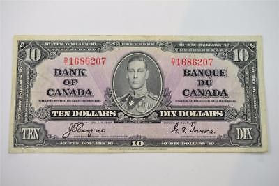 1937 Bank Of Canada $10 Ten Dollar Bill. D/t1686207 . Free Combined Shipping