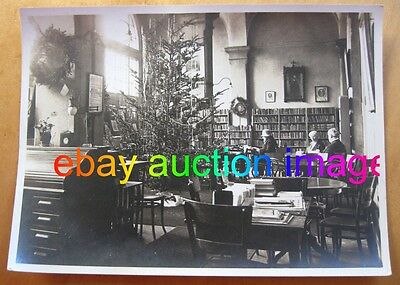 1900 STUNNING LIBRARY PHOTO~Christmas Tree~Atmosphere~Books~Library Rules~vtg