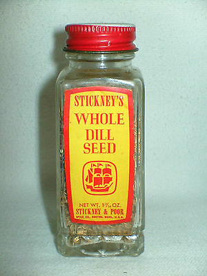 Antique Vintage Stickney & Poor's 1 1/16 oz Dill Seed spice bottle Boston USA