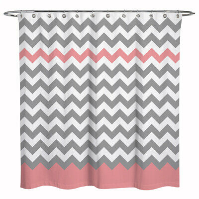 Fabric Zigzag Stripes Chevron Shower Curtain Bathroom Decor Pink Gray White 72