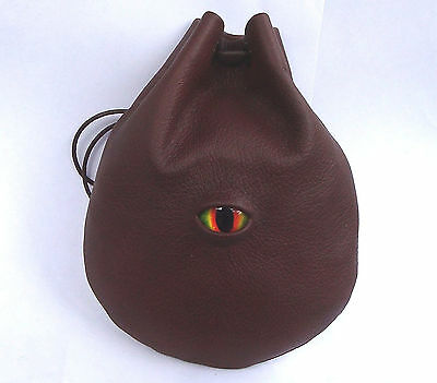 Dragon Eye Leather Dice Runes Coin Pouch Bag  Medieval  Sca  Larp Ren