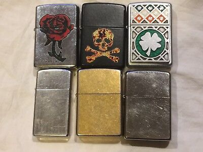 Mixed LOT of 6 Vintage Zippo LIGHTERS