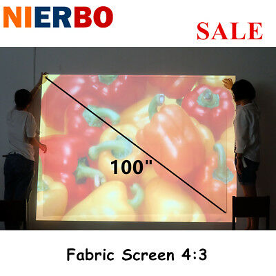 """Projection Movie Screen 100"""" 4:3 Portable White For HD 3D Home Theater Screen"""