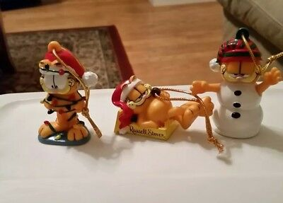 Set of 3 Garfield Russell Stover Christmas ornaments figures