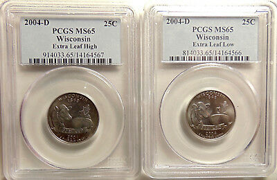 2 -2004-D Wisconsin Quarters PCGS MS65 Low Leaf / High Leaf -Beautiful GEM Coins