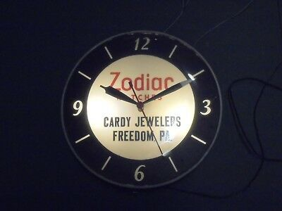 Vintage 1960's Zodiac Watches Cardy Jewelers Freedom,PA. Working Dealers Clock