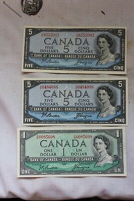 unc 2 1954 Canada $5 Dollar Bank Note -     1 / 1.00 notes lot