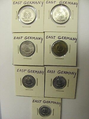 Lot of 7 East Germany coins - 2,1 Mark & 50, 20,10, 5, 1 Pfennig - UNCIRCULATED
