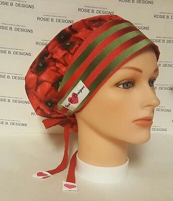 Red  Flowers   Bouffant Scrub   Hat   / Scrub Surgical Medical/ Caps/ponytail