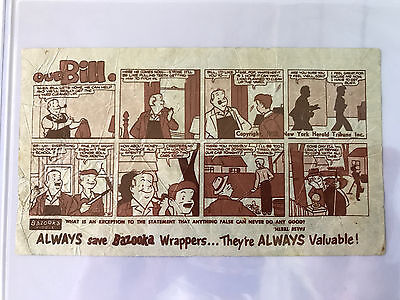 1953 Topps Bazooka Bubble Gum Our Bill NY Herald Tribune 5c Wrapper Comic Fleer