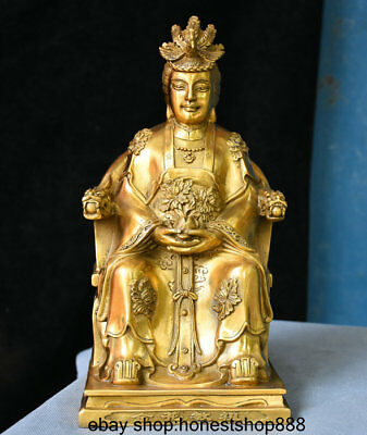 "11"" Chinese Myth Brass Phoenix Queen immortal On Dragon Chair Statue Sculpture"