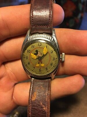 Rare 1948 Ingersoll/us Time Disney Birthday Mickey Mouse Character Watch