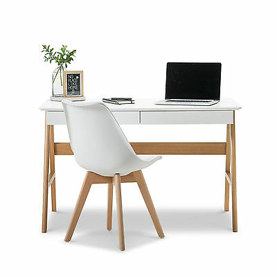 Modern Retro WHITE Scandinavian Danish Study Home Office Timber Desk w Oak Legs