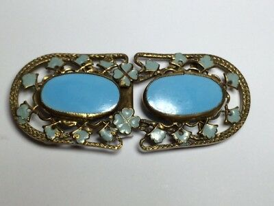 Art Nouveau FRENCH Enamel, Glass and Gilt metal buckle